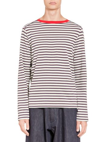 Marni T-shirt in striped jersey with knitted scoop neck Man