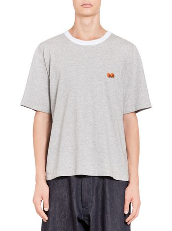 Marni Crewneck T-shirt in cotton jersey with M logo Man
