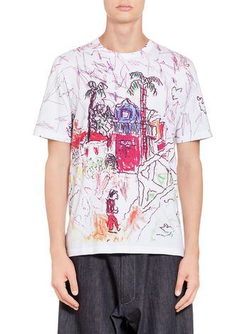 Marni T-shirt in compact jersey with Magdalena Suarez Frimkess print Man