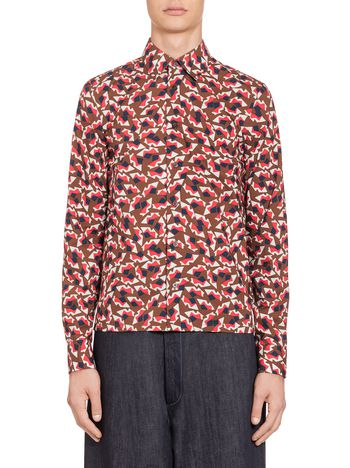 Marni Red shirt in cotton with Metropolis print Man