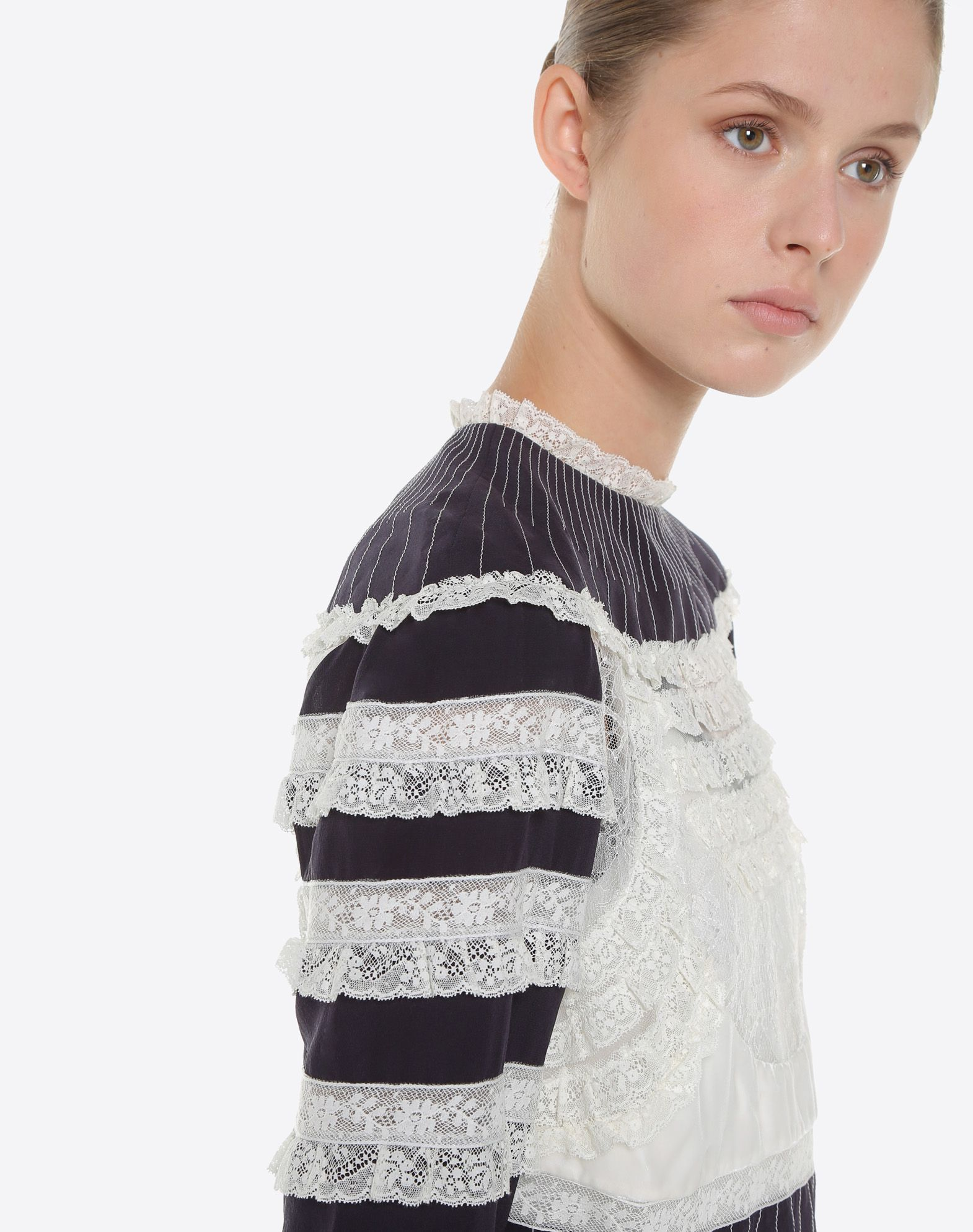 VALENTINO Crêpe de Chine Top with Lace Details TOP D a