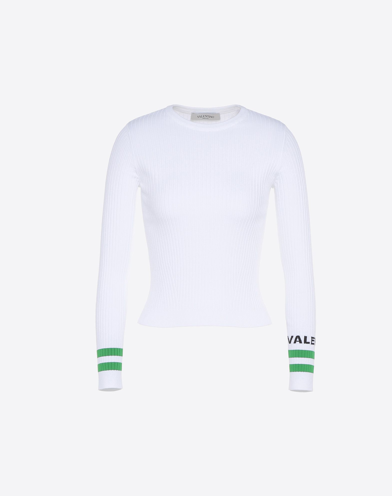 VALENTINO Ribbed Logo Lightweight knitted Round collar Long sleeves  12105864sf