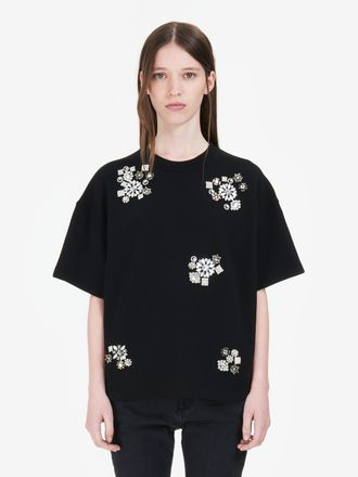 Embroidered Short-Sleeved Sweatshirt