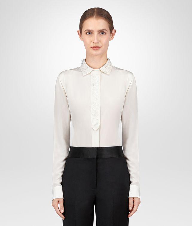 BOTTEGA VENETA LATTE CRÊPE DE CHINE SHIRT Knitwear or Top or Shirt Woman fp