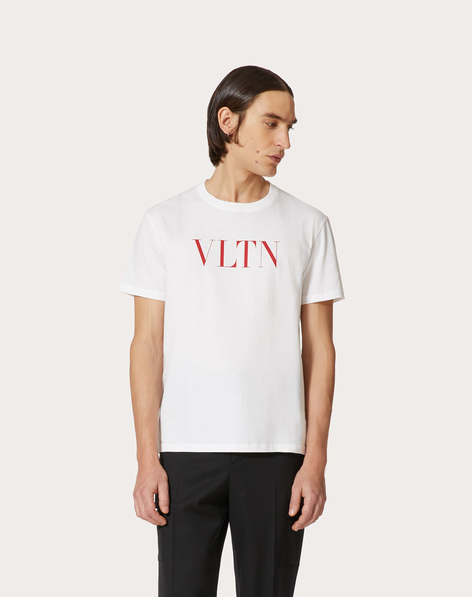 VALENTINO Print Logo Jersey Solid colour Round collar Short sleeves  12110596at