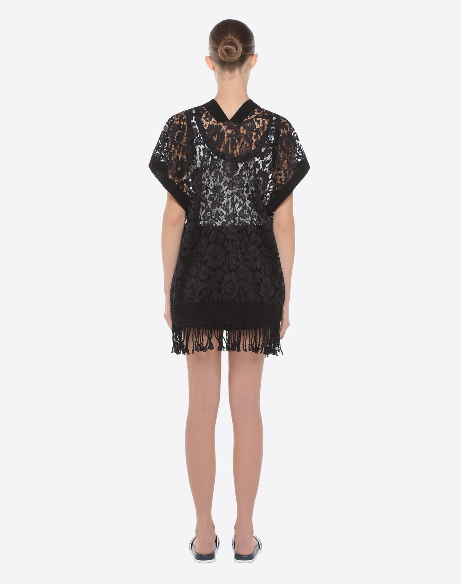VALENTINO Lace Fringe Solid colour Deep neckline Short sleeves  12118352lw