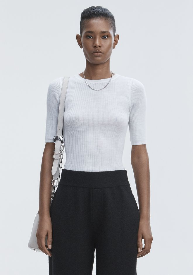 T by ALEXANDER WANG knitwear-t-by-alexander-wang-woman RIB SHORT SLEEVE TEE
