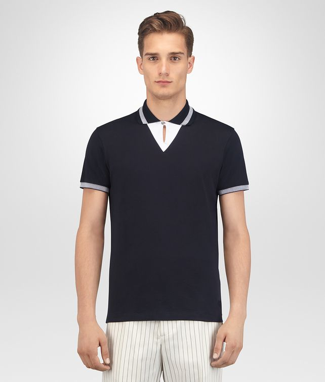 BOTTEGA VENETA DARK NAVY COTTON JERSEY T-SHIRT Polo And Tee Man fp