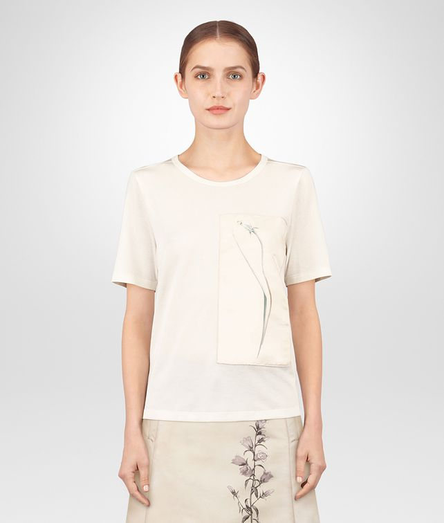 BOTTEGA VENETA T-SHIRT IN SETA LATTE Maglieria o camicia o top Donna fp