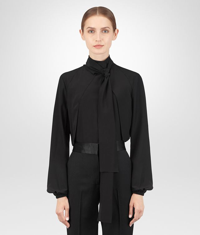 BOTTEGA VENETA NERO CRÊPE DE CHINE SHIRT Knitwear or Top or Shirt Woman fp