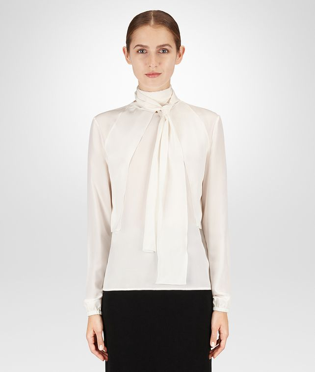 BOTTEGA VENETA LATTE CRÊPE DE CHINE SHIRT Knitwear or Top or Shirt Woman fp
