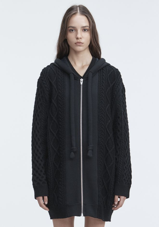 T by ALEXANDER WANG knitwear-t-by-alexander-wang-woman MIXED MEDIA HOODIE