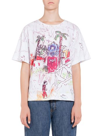 Marni Cotton jersey T-shirt with Landscape print by Maria Magdalena Suarez Woman