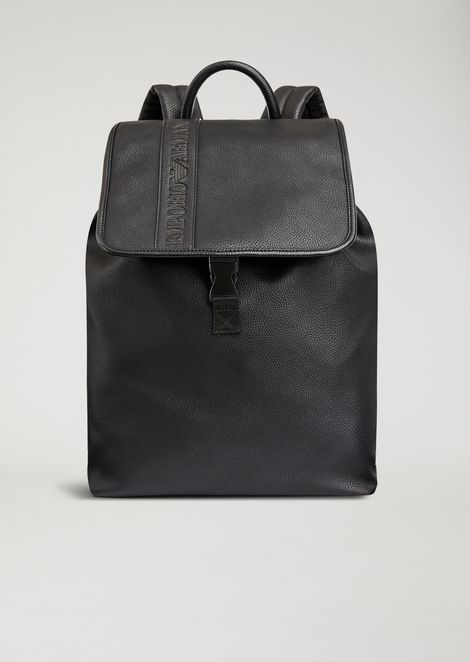 FAUX LEATHER BACKPACK WITH DEBOSSED LOGO