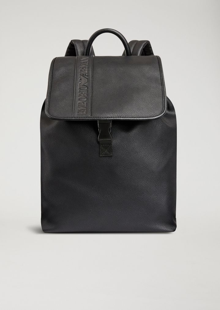 db8fe3f995bb FAUX LEATHER BACKPACK WITH DEBOSSED LOGO