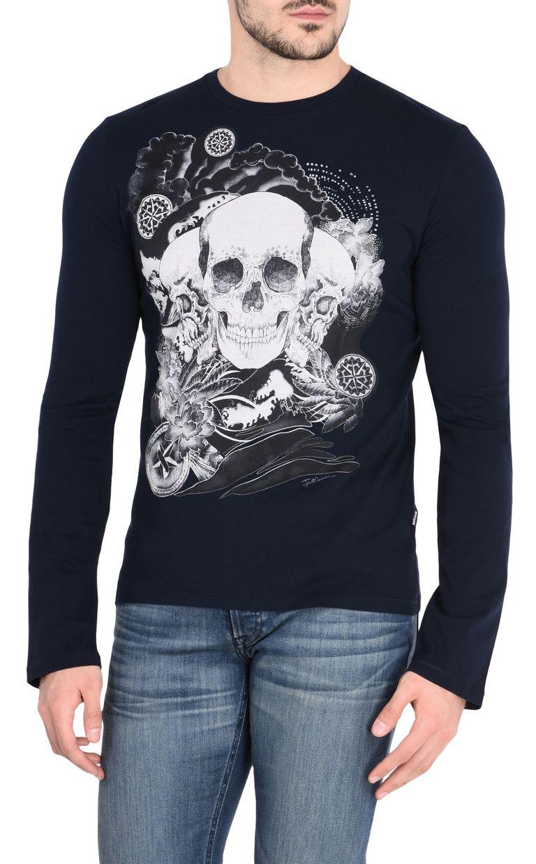 JUST CAVALLI T-shirt tête de mort T-shirt manches longues     27abac936942