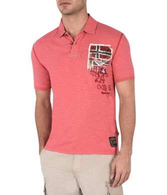 NAPAPIJRI ELLIDI MAN SHORT SLEEVE POLO,CORAL