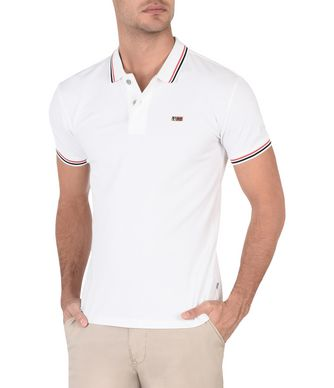 NAPAPIJRI TALY STRIPE MAN SHORT SLEEVE POLO,WHITE