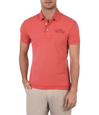 NAPAPIJRI ELBAS STRETCH MAN SHORT SLEEVE POLO,CORAL