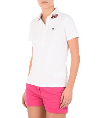 NAPAPIJRI ELMIRE WOMAN SHORT SLEEVE POLO,WHITE