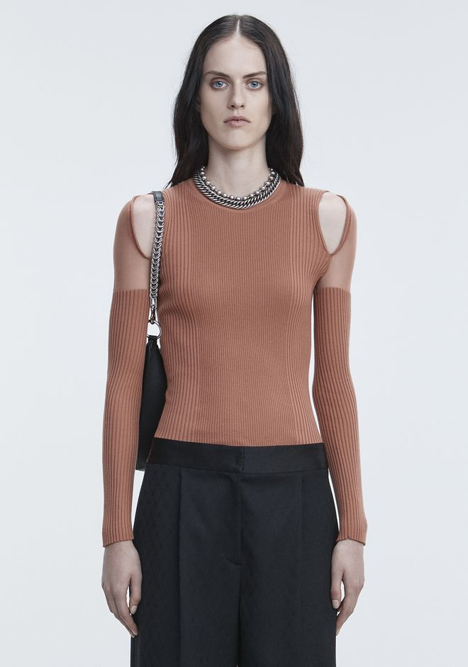 ALEXANDER WANG new-arrivals-ready-to-wear-woman SHEER SHOULDER PULLOVER