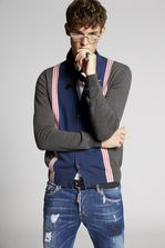 DSQUARED2 Contrasted Wool Cardigan Cardigan Man