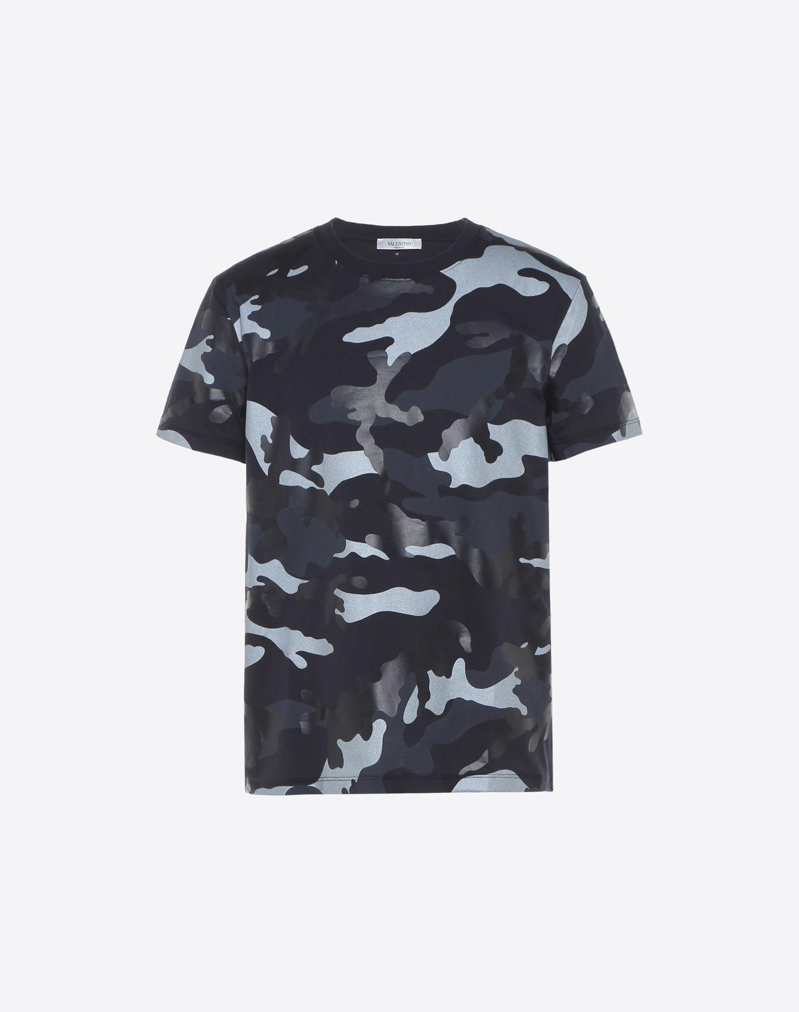 Valentino Camouflage Print T Shirt In Dark Blue Modesens