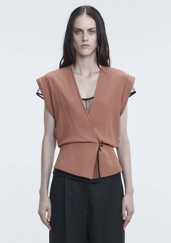 ALEXANDER WANG new-arrivals-ready-to-wear-woman V-NECK PEPLUM TOP