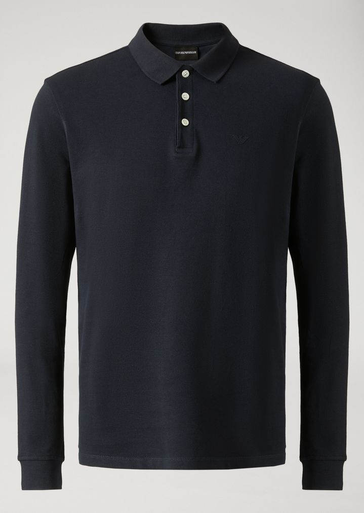... EMPORIO ARMANI LONG-SLEEVED POLO SHIRT IN COTTON PIQUE Polo Shirt Man r  ...