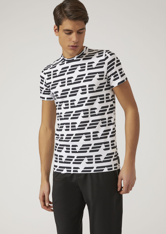 EMPORIO ARMANI T-shirt with all over logo T-Shirt U f ... 437690fe961d
