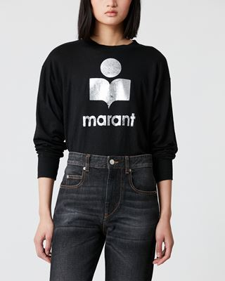 ISABEL MARANT ÉTOILE T-SHIRT Woman KLOWIA long sleeved logo T-shirt  r