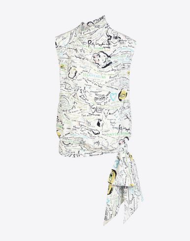 MAISON MARGIELA Top D Printed silk georgette bow top f