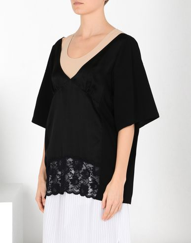 MM6 MAISON MARGIELA Top Woman Cotton jersey and lace T-shirt f