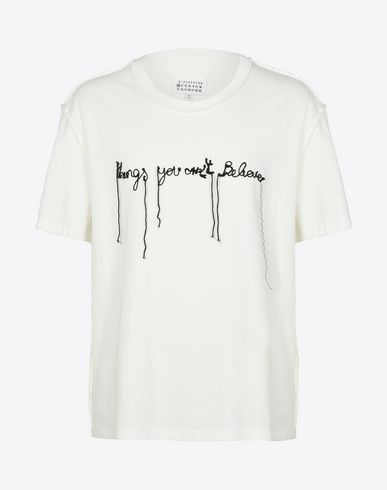 MAISON MARGIELA Short sleeve t-shirt U Embroidered message cotton T-shirt f