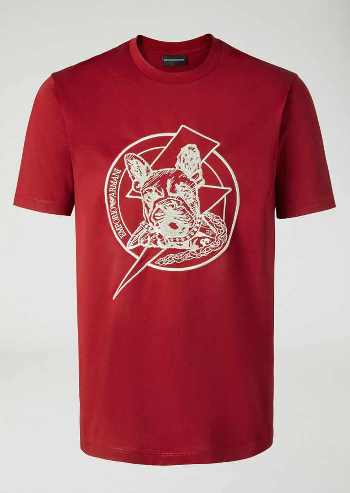 Jersey T Shirt With Embroidery Man Emporio Armani