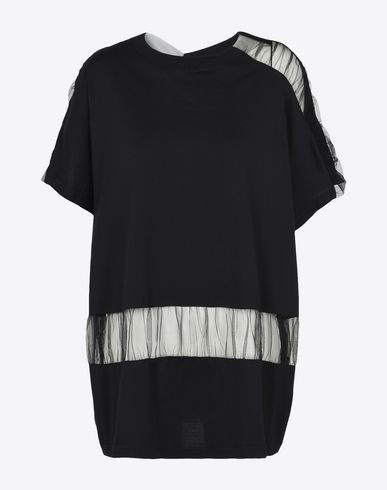 MAISON MARGIELA Short sleeve t-shirt D Cotton and tulle cut-out T-shirt f