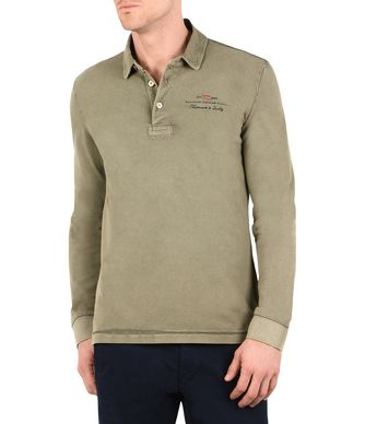NAPAPIJRI ELBAS LONG SLEEVES MAN LONG SLEEVE POLO,MILITARY GREEN