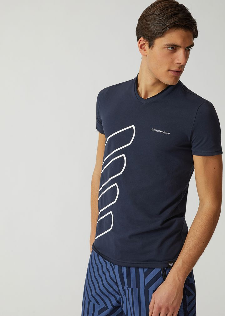 7e6d10959bc1 T-SHIRT IN STRETCH COTTON JERSEY WITH LOGO | Man | Emporio Armani