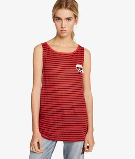 KARL LAGERFELD KARL LOVE STRIPED LINEN TANK