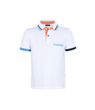 NAPAPIJRI K ESSE KID KID SHORT SLEEVE POLO,WHITE