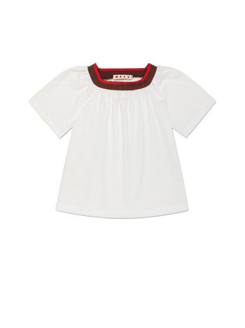 Marni T-SHIRT IN WHITE COTTON WITH CONTRASTING COLOR RIBBED KNIT ON THE NECK Woman