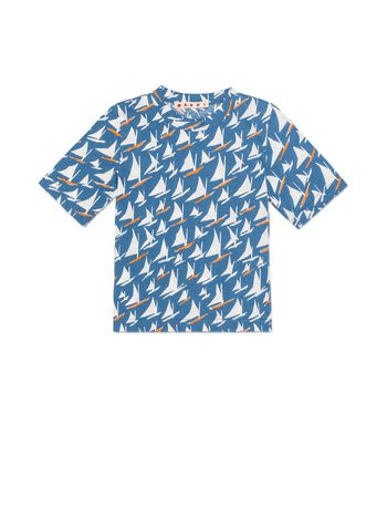 Marni T-SHIRT IN COTTON WITH SAIL PRINT Man