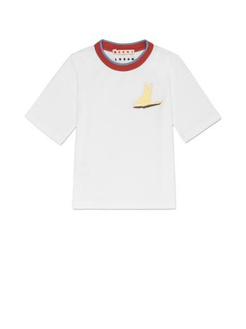 Marni T-SHIRT IN WHITE COTTON WITH CONTRASTING COLOR RIBBED KNIT ON THE NECK AND PATCH Man