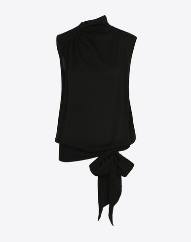 MAISON MARGIELA Top D Silk georgette bow top f