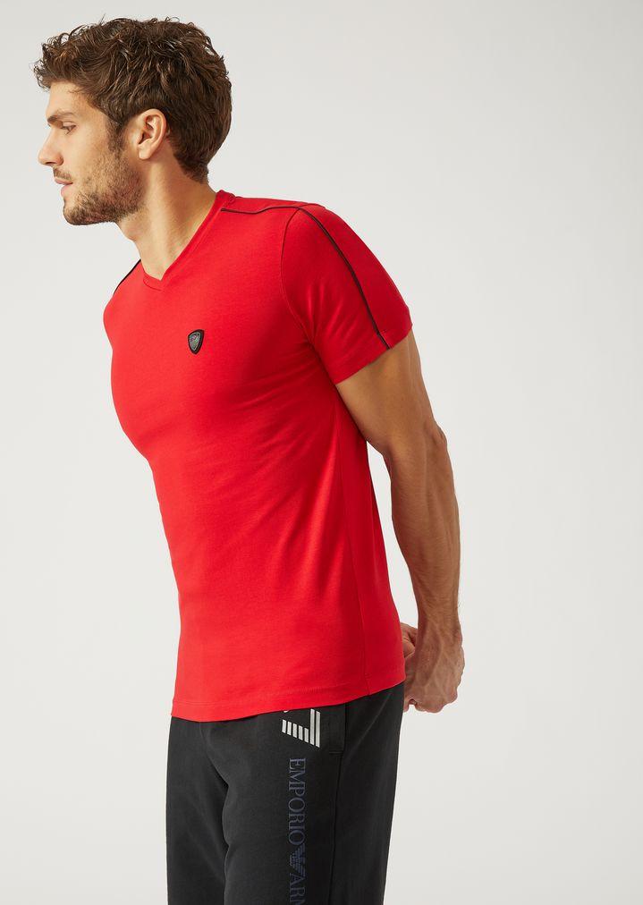 7787c0dda0 Stretch cotton jersey T-shirt with maxi logo | Man | Ea7