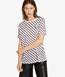 KARL LAGERFELD T-SHIRT IN LINO A RIGHE KARL CAPITANO