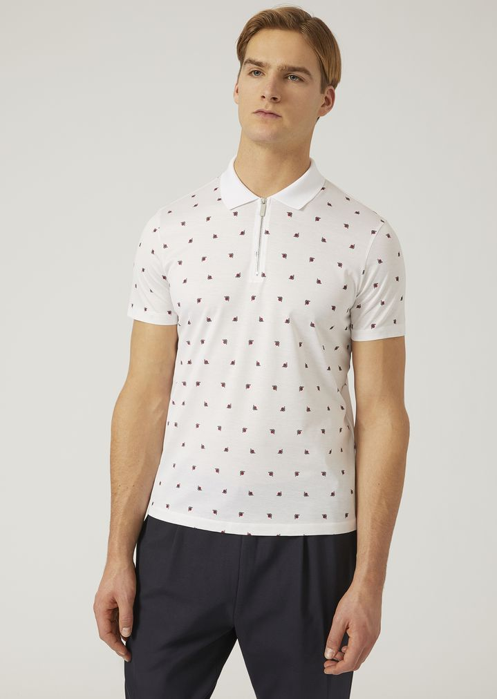 9373f4c0 Polo shirt in cotton jersey with all-over logo | Man | Emporio Armani