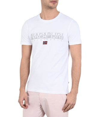 NAPAPIJRI SAPRIOL  MAN SHORT SLEEVE T-SHIRT,WHITE