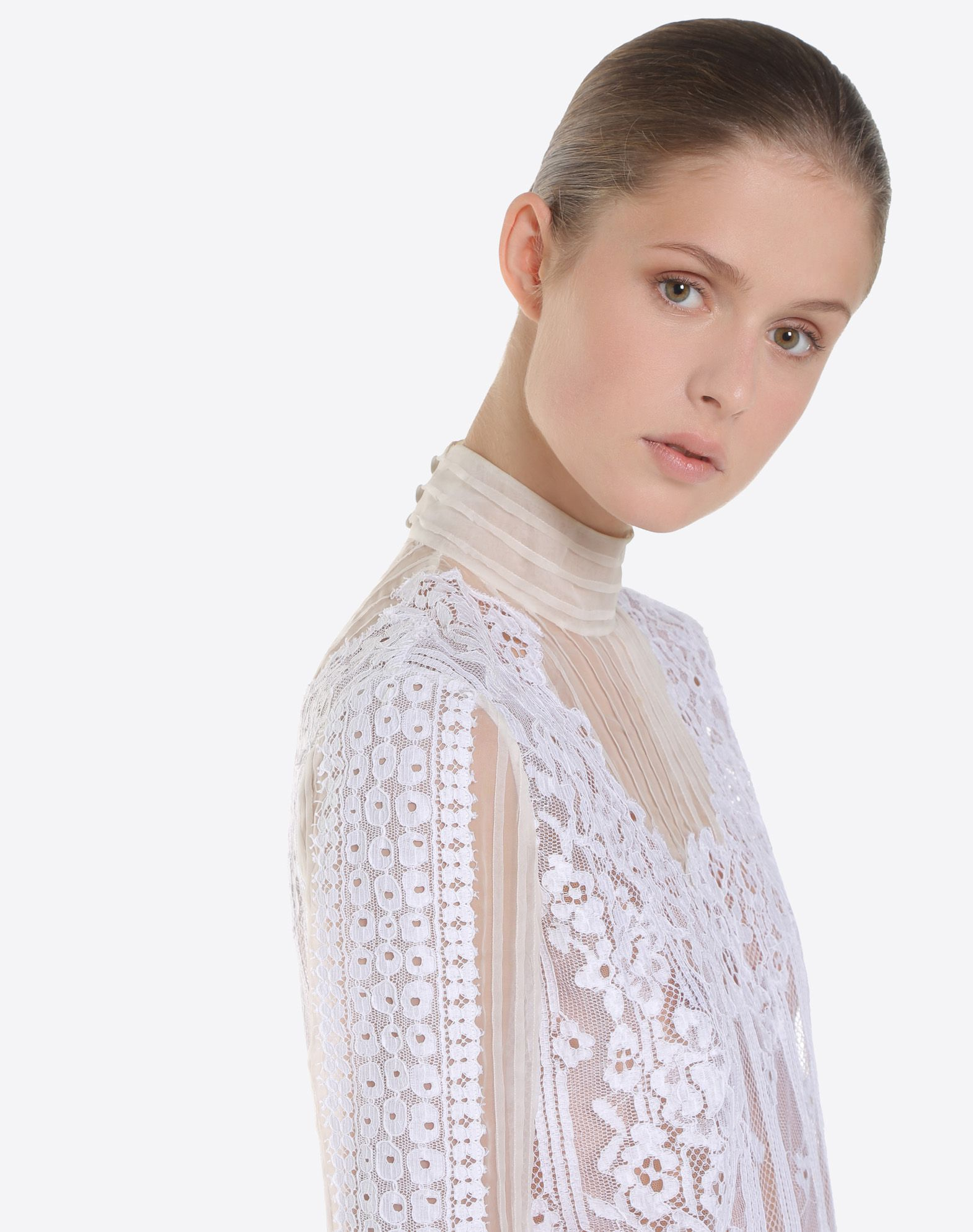 VALENTINO Chiffon and lace top TOP D a