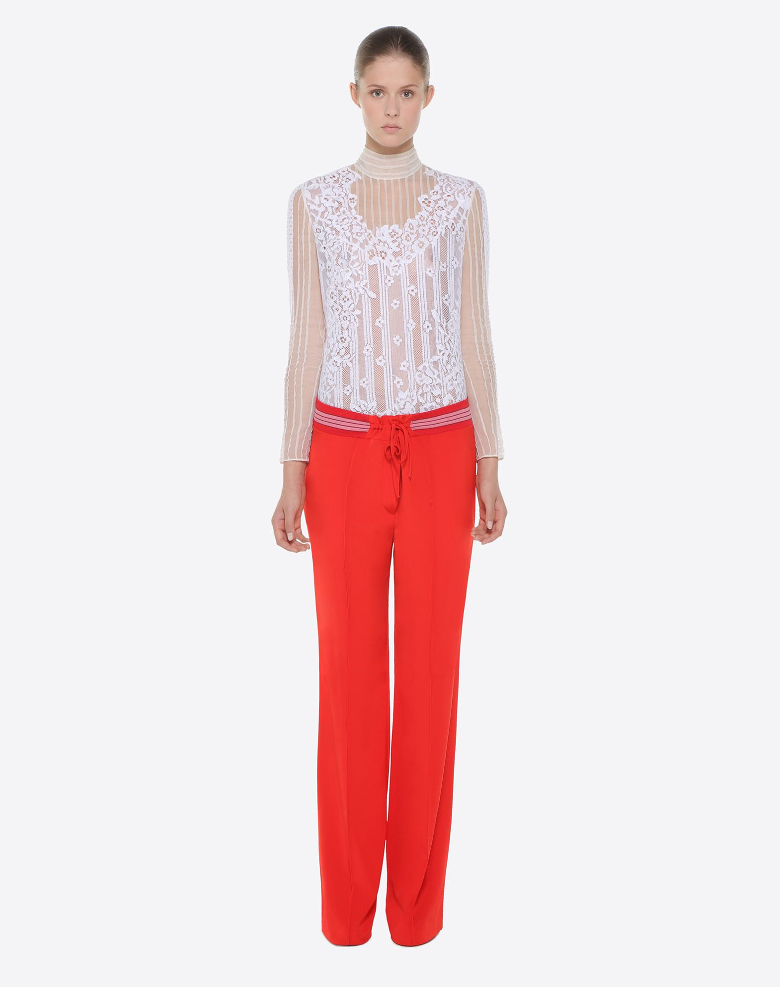 VALENTINO Chiffon and lace top TOP D r